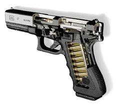 An Austrian 9mm Glock 17 cutaway demonstrator
