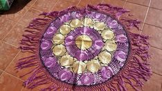 Round Hungarian Matyo Silk Embroidered tablecloth purple colors  | eBay