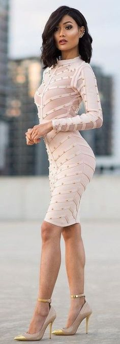 #Street #Fashion | Blush x Gold Midi Dress + Pumps | Micah Gianneli                                                                             Source