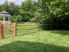 2-rail split rail fence with weld wire mesh installed in Northampton Mike & Steve from #triborofence #woodfence #splitrailfence Split Rail Fence, Fence Styles, Wire Mesh, Deck, Wood, Outdoor Decor, Home Decor, Decoration Home, Metal Trellis