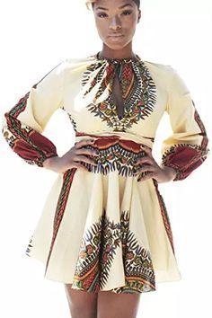Zonsaoja Les Femmes Les Robes Florales Tribale Africaine Maxi Robe sans Manches