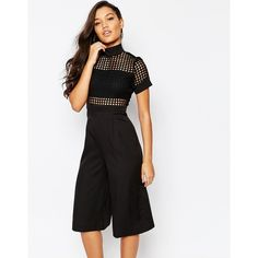 Missguided Cage Bodice Culotte Jumpsuit (260 ILS) ❤ liked on Polyvore featuring jumpsuits, black, tall jumpsuits and jump suit