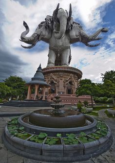"""The Erawan Museum in Thailand    The Erawan Museum is constructed as a 250 tons gigantic three-headed elephant, Airavata. It is divided into 2 main parts; The upper part which is the elephant. the belly of the elephant or call """"Heaven"""" is a serve as a museum exhibiting the precious objects. Lower Part of the elephant base, inside the building or call """"Earth"""" displays antiques comprising a pavilion of Phra ket - Protective God of the Earth and Ocean."""
