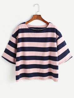 Shop Contrast Striped Drop Shoulder T-shirt online. SHEIN offers Contrast Striped Drop Shoulder T-shirt & more to fit your fashionable needs. Teen Fashion Outfits, Outfits For Teens, Woman Outfits, Casual Outfits, Fashion Clothes, Jugend Mode Outfits, Vetement Fashion, Striped Scarves, Mode Style
