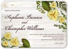 Floral Perfection Wedding Invitation, Rounded Corners, Beige