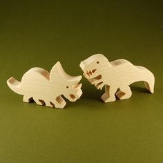 Wood Toy Dinosaurs  Set of 2 Wooden Dino Toys  by nwtoycrafters, $9.00 have guests paint for the baby?