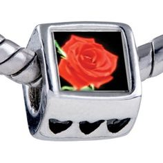 Pugster Bead Red Rose Beads Fits Pandora Bracelet Pugster. $12.49. Fit Pandora, Biagi, and Chamilia Charm Bead Bracelets. Hole size is approximately 4.8 to 5mm. Unthreaded European story bracelet design. It's the photo on the heart charm. Bracelet sold separately