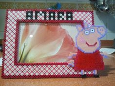 Peppa pig photo frame 10 x 15 hama beads by Andres Moreno Rodriguez