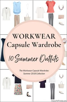 Create a Workwear capsule wardrobe on a budget… 100 Dressy Outfits for the Professional Working Woman! This post is a preview of the e-Book, The Workwear Capsule Wardrobe: Summer 2018 Collection. Outfit idea for the office with accessories featuring a blouse, tee, top, pants, skirt, blazer, cardigan, pumps, heels, flats and mules.