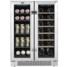 Whynter 24 in. Built-In French Door Dual Zone Wine and Beverage Cooler Black - Beverage Refrigerator - Ideas of Beverage Refrigerator - Whynter 24 in. Built-In French Door Dual Zone Wine and Beverage Cooler Black Beverage Refrigerator, Compact Refrigerator, Wine Fridge, Wine Shelves, Glass Shelves, Wine Storage, Wine Coolers Drinks, Sliding Shelves, Tempered Glass Door