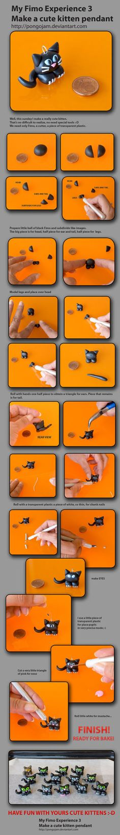 Ilaria Gorin's photo tutorial for little kitty charm.  Sculpey or Fimo