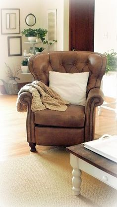 Comfy Leather Chair... If It Reclines With Foot Rest, This Would Be