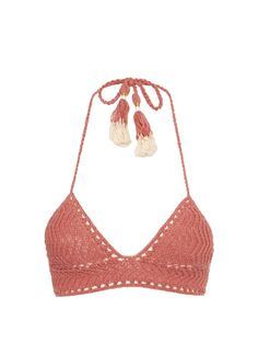 A carefree 1970s vibe underpins She Made Me's SS16 collection. This dusky-pink Laharia bikini top is handmade from cotton-crochet, and embellished at the self-fastening straps with tassels, cowrie shells, and wraparound thread. Complete the look with the coordinating briefs. We recommend taking one size larger for a true-to-size fit.