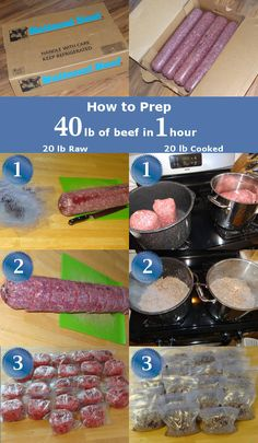 If you buy ground beef in bulk (whether from Zaycon foods or other sources) then here's an idea on how to prep it for many means in just an hour.