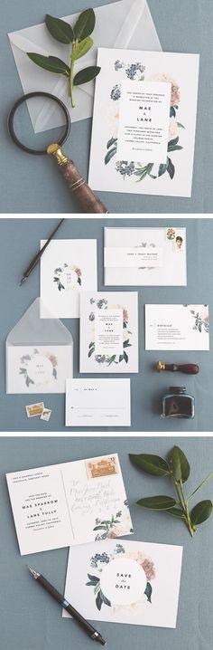 modern botanical wedding stationery