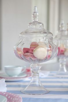 Mary Poppins tea birthday party apothecary jars with macaroons