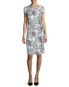 Cap-Sleeve Round-Neck Sheath Dress, Black/Multi, Black Multi - Lafayette 148 New York