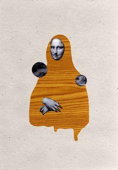 Interpretation of Gioconda with moustaches (Marcel Duchamp) on paper. 23x34cm.