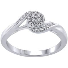 1/10 ct. tw. Diamond Promise Ring in 10K White Gold (£330) ❤ liked on Polyvore featuring jewelry, rings, white, white jewelry, white gold band ring, band jewelry, white gold jewellery and white diamond ring