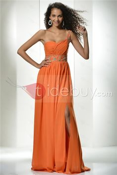 Vestido de Noche/Prom con Lentejuelas Silueta Línea A Largo al Piso Un Hombro (Envío Gratuito)