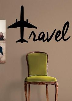 Travel Airplane Quote Decal Sticker Wall Vinyl Decor Art - Travel The latest in home decorating. Beautiful wall vinyl decals, that are simple to apply, are a - Vinyl Decor, Vinyl Wall Decals, Wall Stickers, Vinyl Art, Custom Decals, Cheap Home Decor, Diy Home Decor, Airplane Design, Airplane Art