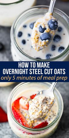 How to make overnight steel cut oats, no cooking required! Vegan and gluten free, with just 4 ingredients required and ready in just 5 minutes of meal prep. #sweetpeasandsaffron #mealprep #breakfast #steelcutoats #dairyfree #vegan #glutenfree #weekdaybreakfast #howto