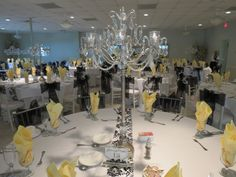Pittsburgh wedding theme with beautiful silver chandelier bling centerpieces