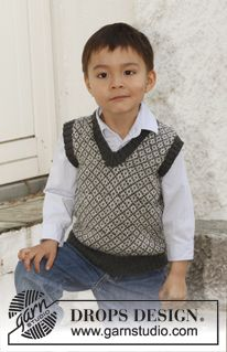 """boys Knitted DROPS vest fair isle colorwork with pattern in """"Alpaca"""". Size 3 to 12 years. ~ DROPS Design"""
