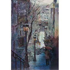 Montmartre, Paris by Hercio Dias Art Watercolor, Fine Art, Urban Landscape, Beautiful Paintings, Monet, Amazing Art, Art Photography, Street Art, Art Gallery