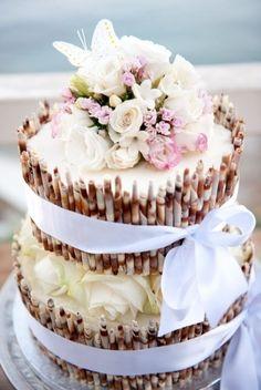 Beach wedding shell cake