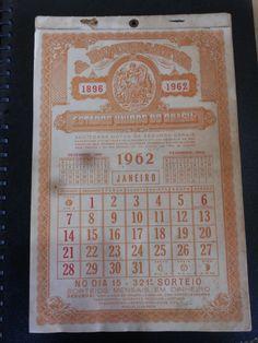Calendário Raro Completo - República dos Estados Unidos do Brasil - 1962