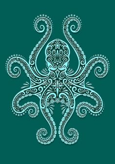 "Intricate Teal Blue Octopus"" by Jeff Bartels 