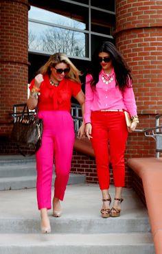 pink and red colorblock http://highheelsandbigdreams.blogspot.com/
