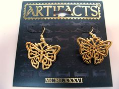 so delicate! #butterfly earrings signed jj jewelry SALE $8.00