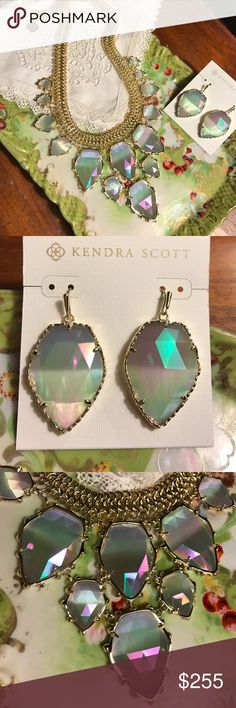 Kendra Scott  Gretchen Necklace w Earrings Iridescent Gretchen necklace NWT has bag. This has marching Corley earrings. Never worn Kendra Scott Jewelry Necklaces