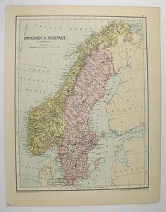 Old Scandinavia Map, Vintage Norway Map Sweden Denmark Map 1875 Johnston Map, Northern Europe Map, Scandinavian Decor Art Gift for Coworker available from OldMapsandPrints.Etsy.com #Norway #Sweden #Denmark #AntiqueScandinaviaMap