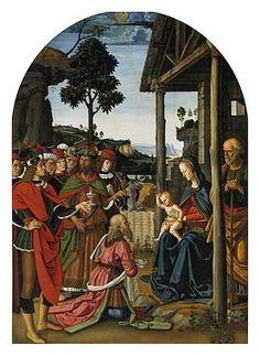 Adoration of the Magi - Pietro Perugino.  c.1476.  Oil on panel.  241 x 180 cm.  Galleria Nazionale dell'Umbria, Perugia, Italy.