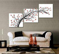 3+Diagonal+Wall+Art+Set | ... Piece Wall Art Set Modern Oil Paintings Flowers Living Room Wall