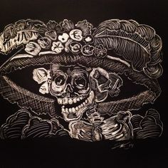 Catalina from Day of the Dead. Scratchboard. 2014.