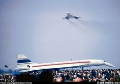 Concorde! French prototype F-WTSS with British Prototype G-BSST (002) flying overhead at the Paris Air Show in 1969