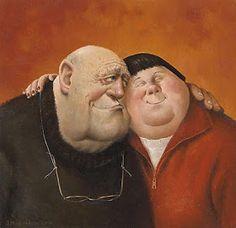 Marius van Dokkum , Named: Hug (Dutch Artist and Illustrator) Fat Art, Art Calendar, Dutch Painters, Dutch Artists, Naive Art, People Art, Happy People, Funny Art, Figure Painting