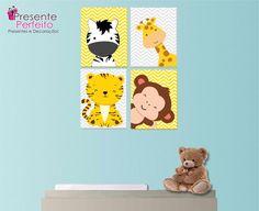 4 Quadros Decorativos 25x40 Animais Baby