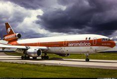 """AeroMéxico McDonnell Douglas DC-10-30 N3878P """"José María Morelos"""" under a menacing sky at Paris-Orly, June 1987. (Photo: Dirk Grothe)"""