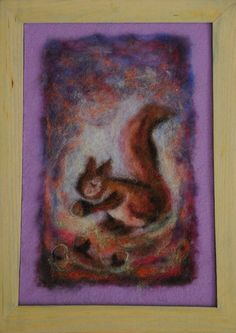 Wool painting  squirrel large size by AdiCeramicsAndArt on Etsy, $60.00