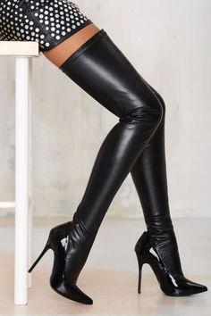 Nasty Gal Closer Thigh High Stiletto Boot - Black - Shoes