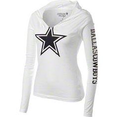 Dallas Cowboys Women's White Jersey Notch Hooded T-Shirt Dallas Cowboys Outfits, Dallas Cowboys Pictures, Dallas Cowboys Shirts, Cowboy Outfits, Dallas Cowboys Football, Cowboys Apparel, Cowboys 4, Football Decor, Football Outfits