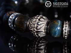verroni Night Tiger Handcrafted premium bracelet with high quality hand selected natural blue tiger eye beads and verroni designed stainless steel.