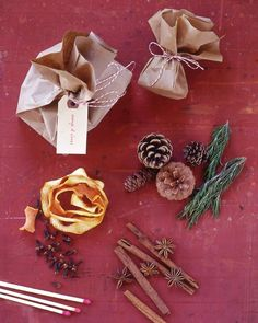 These easy-to-make sacks can be burned in the fireplace, where their contents' natural fragrances will be released.