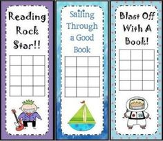 Reading Incentive Chart Bookmarks: Designs should be updated for teens, but it's a great idea!