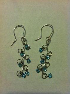Turquise Beaded Wire Earings by TreasuresByCheryl on Etsy, $10.00